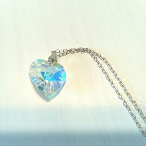 Sparkling Rainbow Crystal Heart Necklace Shine